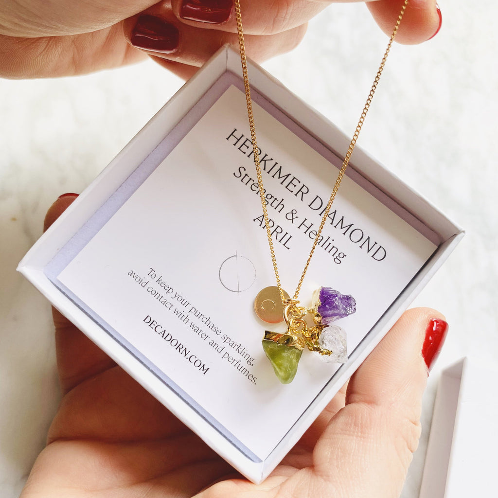 Personalised Family Birthstone Triple Necklace - Raw Cut (Gold Plated) - Decadorn