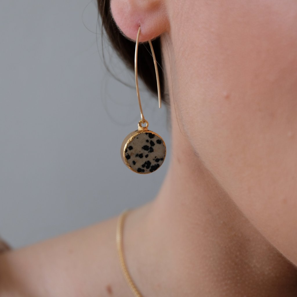 Mini Circle Dropper Earrings - Dalmatian Jasper - Decadorn