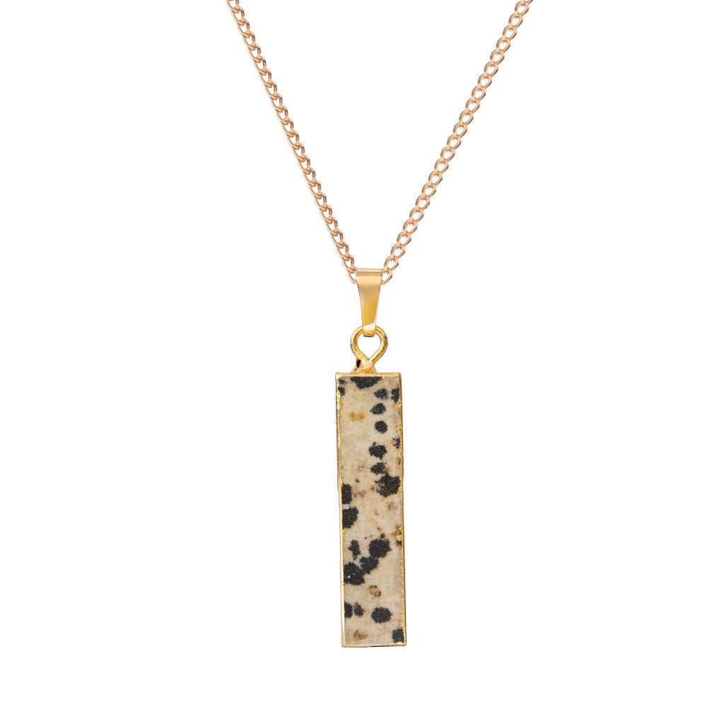 Dalmatian Jasper Bar Necklace - Decadorn