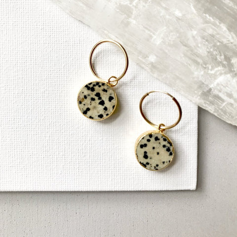 Mini Circle Hoop Earrings - Dalmatian Jasper - Decadorn