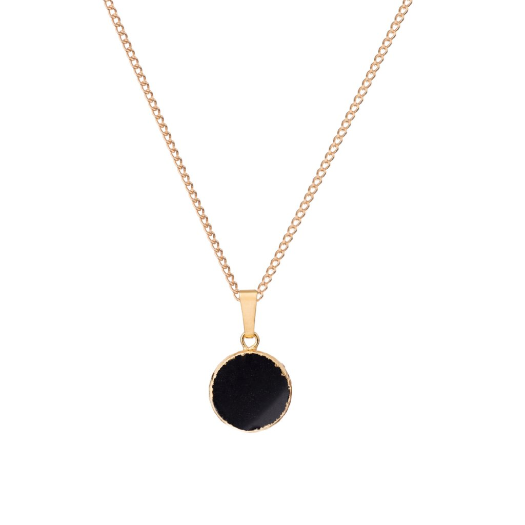 Mini Circle Pendant Necklace - Black Onyx - Decadorn