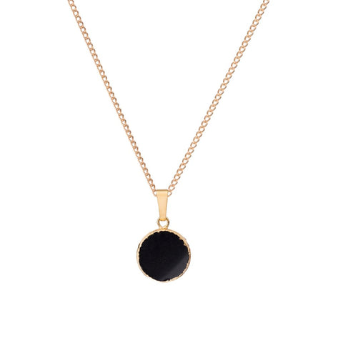 Decadorn Mini Circle Jasper Pendant Necklace - Black