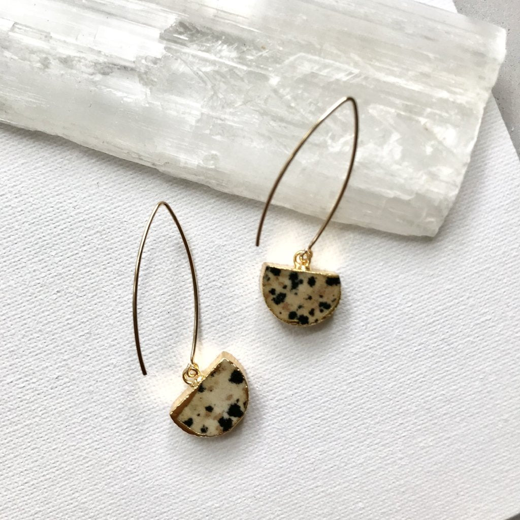 Mini Semi-Circle Dropper Earrings - Dalmatian Jasper - Decadorn