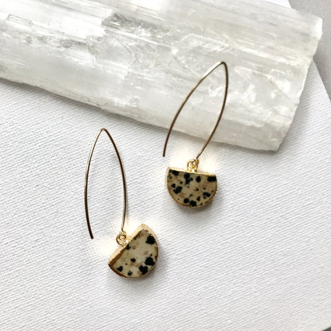 Mini Semi-Circle Dropper Earrings - Dalmatian Jasper ( 1 week delivery) - Decadorn