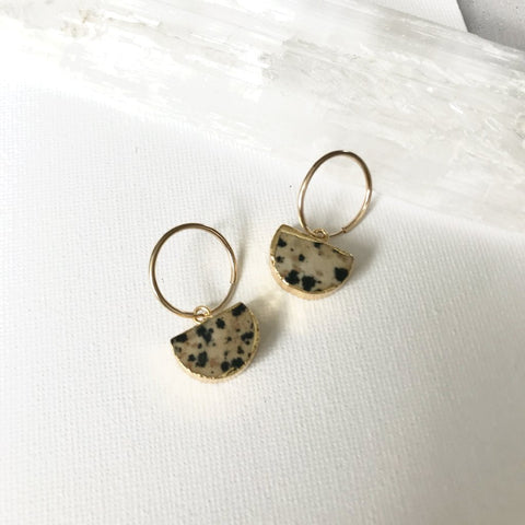 Mini Semi-Circle Hoop Earrings - Dalmatian Jasper - Decadorn