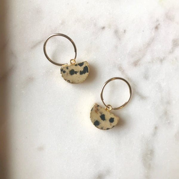 Mini Semi-Circle Hoop Earrings - Dalmatian Jasper (1 week delivery) - Decadorn