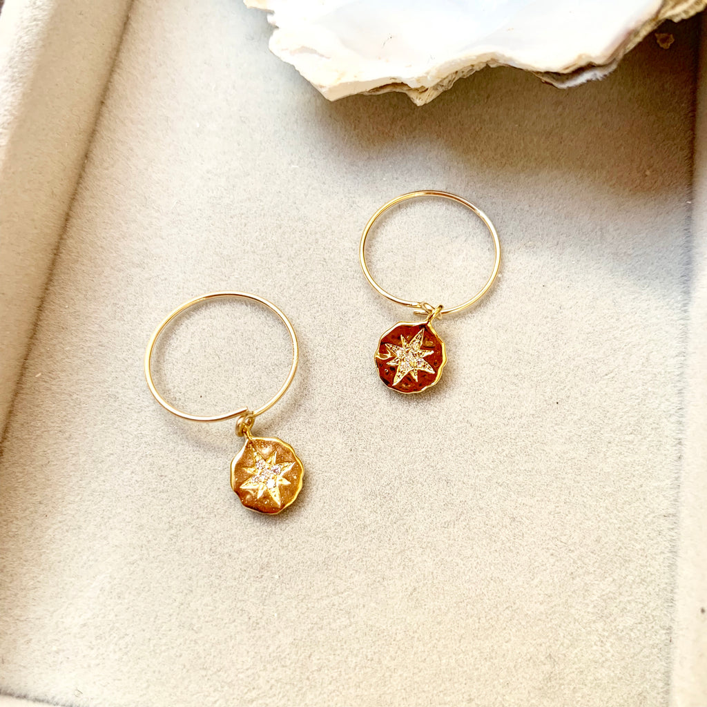 Star Coin Mini Hoop Earrings - Decadorn