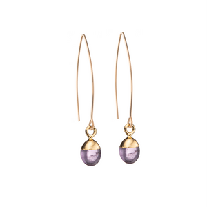 Tiny Tumbled Gemstone Dropper Earrings - Amethyst (Calming) - Decadorn