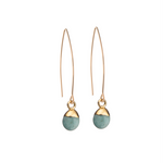 Tiny Tumbled Gemstone Dropper Earrings - Amazonite (Confidence) - Decadorn