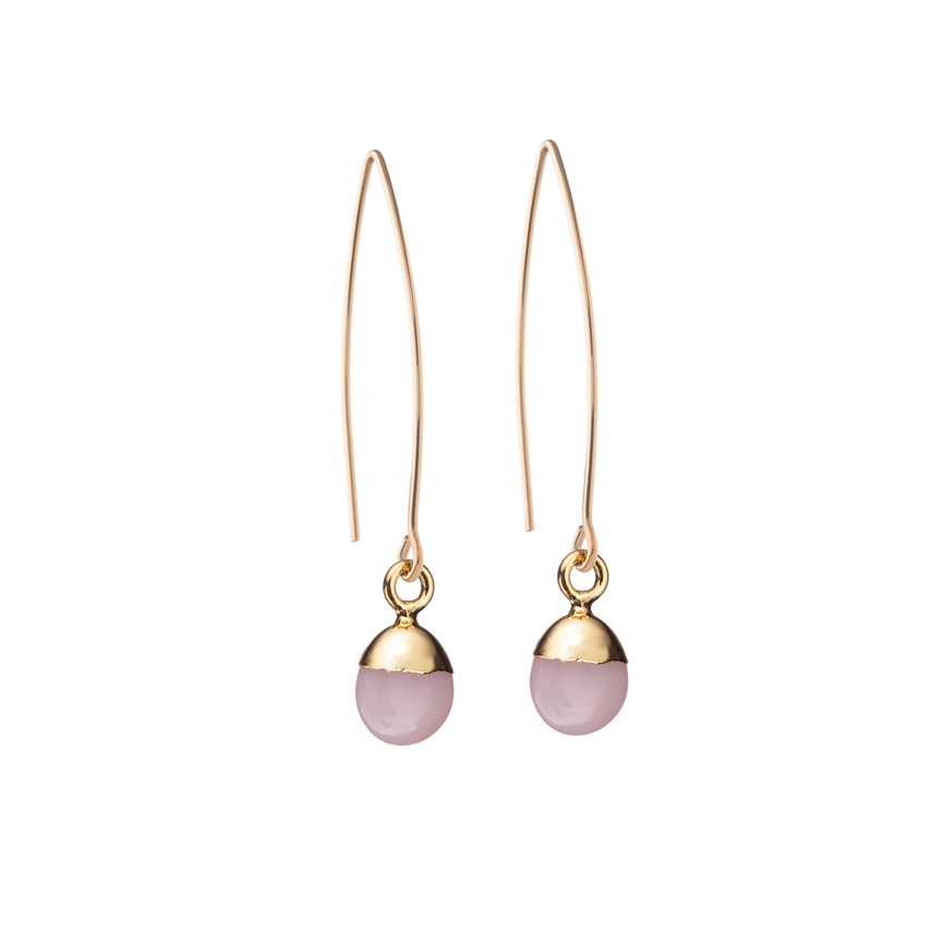 Tiny Tumbled Gemstone Dropper Earrings - Rose Quartz (Love) - Decadorn