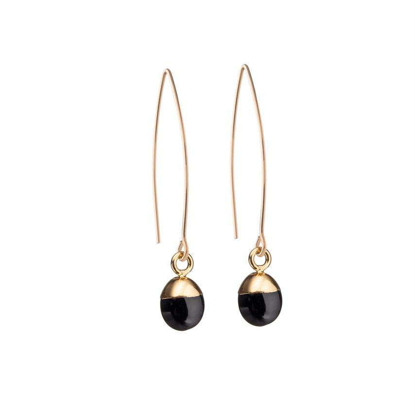Tiny Tumbled Gemstone Dropper Earrings - Onyx (Strength) - Decadorn