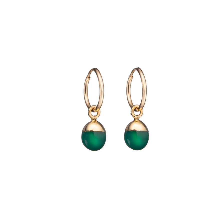 Tiny Tumbled Gemstone Hoop Earrings - Green Agate (Protection) - Decadorn