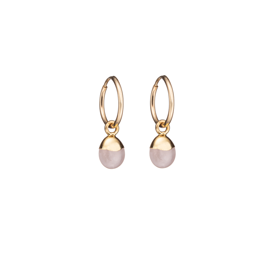 Tiny Tumbled Gemstone Hoop Earrings - Rose Quartz (Love) - Decadorn