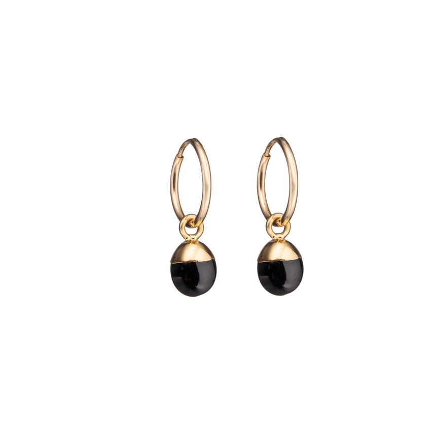 Tiny Tumbled Gemstone Hoop Earrings - Onyx (Strength) - Decadorn