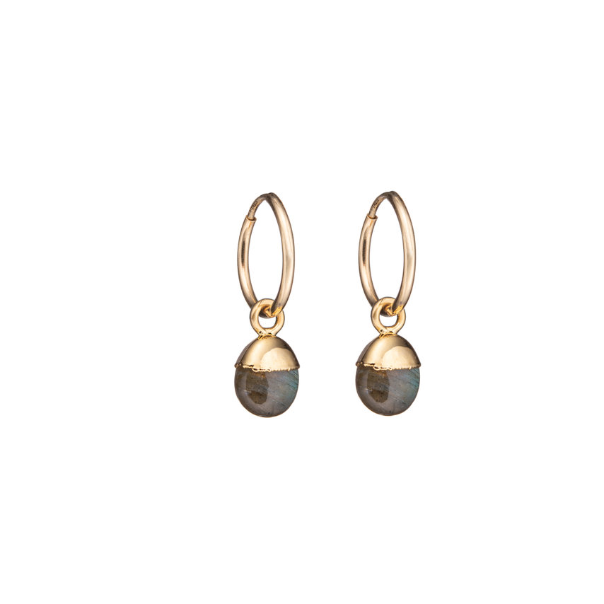 Tiny Tumbled Gemstone Hoop Earrings - Labradorite (Adventure) - Decadorn