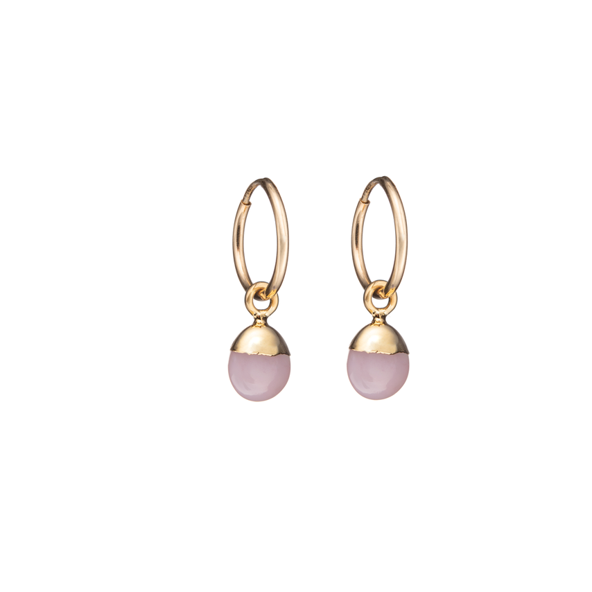 Tiny Tumbled Gemstone Hoop Earrings - OCTOBER, Pink Opal (Hope) - Decadorn