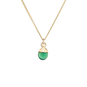 Tiny Tumbled Gemstone Necklace - Green Agate (Protection) - Decadorn