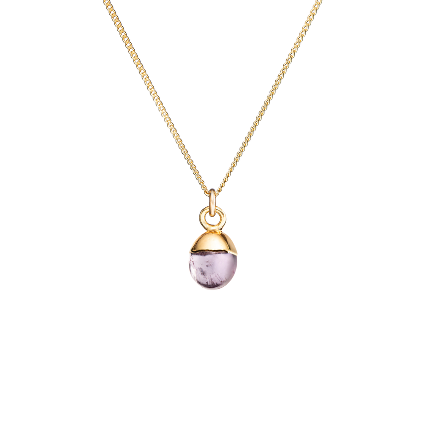 Tiny Tumbled Gemstone Necklace - Amethyst (Calming)