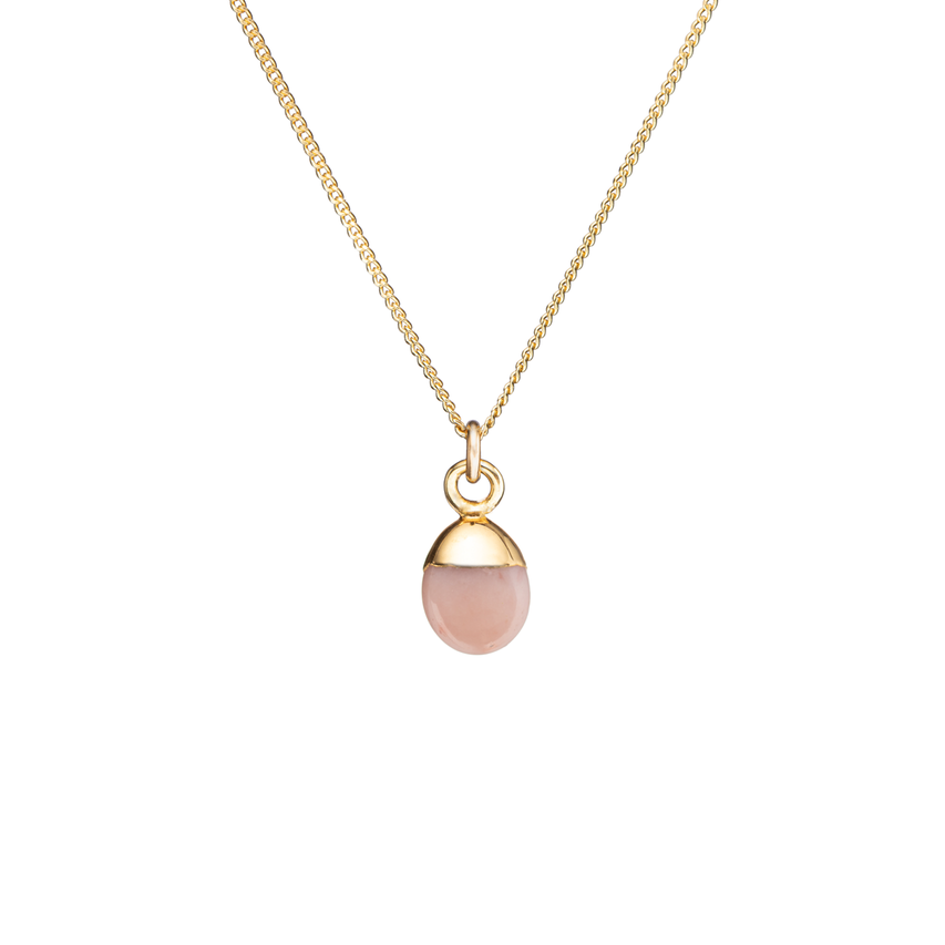 Tiny Tumbled Gemstone Necklace - Pink Opal (Hope) - Decadorn