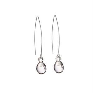 Tiny Tumbled Gemstone Dropper Earrings - Sterling Silver - Quartz (Healing) - Decadorn