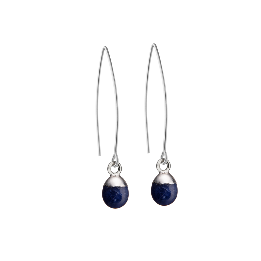 Tiny Tumbled Gemstone Dropper Earrings - Sterling Silver - Sodalite (Inspiration) - Decadorn