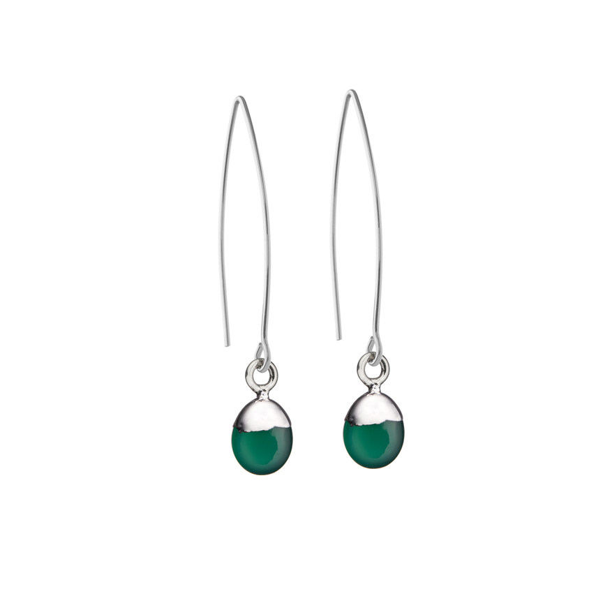Tiny Tumbled Gemstone Dropper Earrings - Silver - Green Agate (Protection) - Decadorn