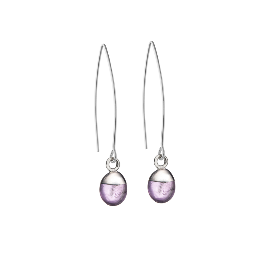 Tiny Tumbled Gemstone Dropper Earrings - Sterling Silver - Amethyst (Calming) - Decadorn