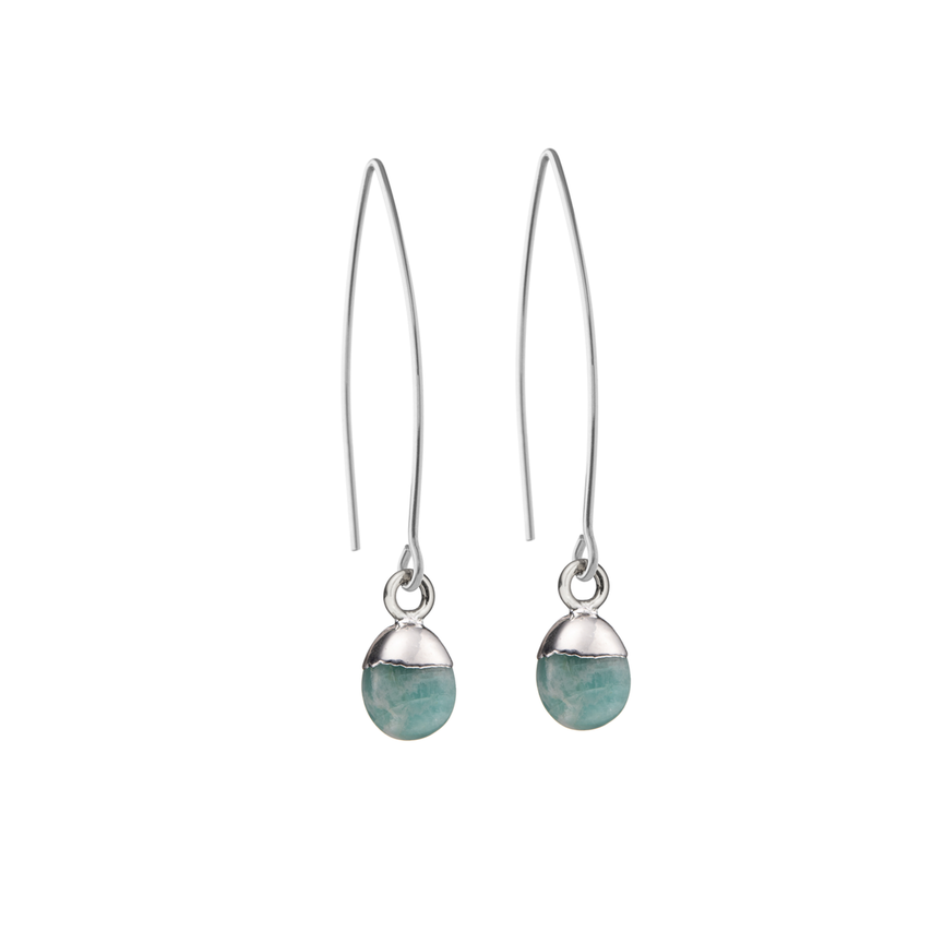 Tiny Tumbled Gemstone Dropper Earrings - Sterling Silver - Amazonite (Confidence) - Decadorn