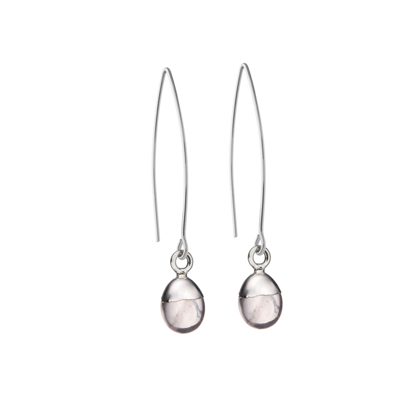 Tiny Tumbled Gemstone Dropper Earrings - Sterling Silver - Rose Quartz (Love) - Decadorn