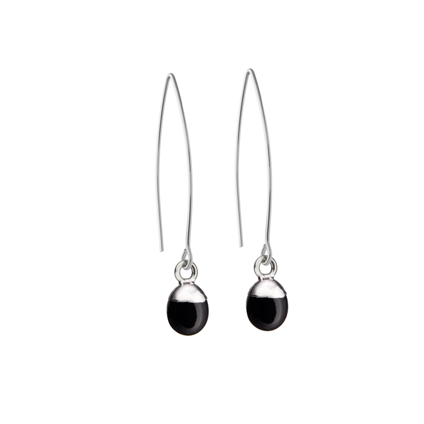 Tiny Tumbled Gemstone Dropper Earrings - Sterling Silver - Onyx (Strength) - Decadorn