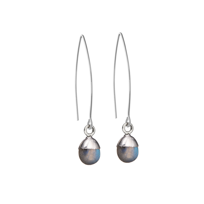 Tiny Tumbled Gemstone Dropper Earrings - Silver - Labradorite (Adventure) - Decadorn