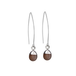 Tiny Tumbled Gemstone Dropper Earrings - Sterling Silver - Chocolate Moonstone (New Beginnings) - Decadorn