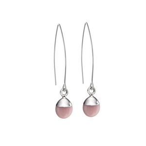 Tiny Tumbled Gemstone Dropper Earrings - Sterling Silver - OCTOBER, Pink Opal (Hope) - Decadorn