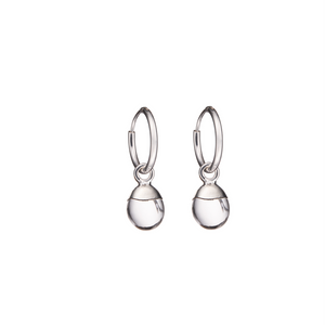 Tiny Tumbled Gemstone Hoop Earrings - Sterling Silver - Quartz (Healing) - Decadorn