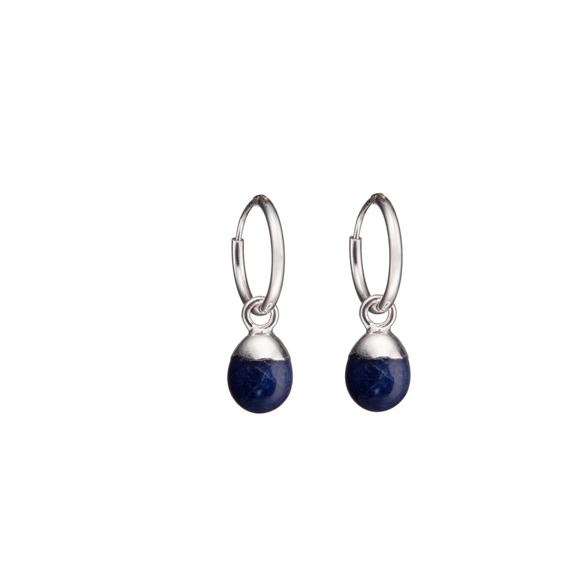 Tiny Tumbled Gemstone Hoop Earrings - Sterling Silver - Sodalite (Inspiration) - Decadorn