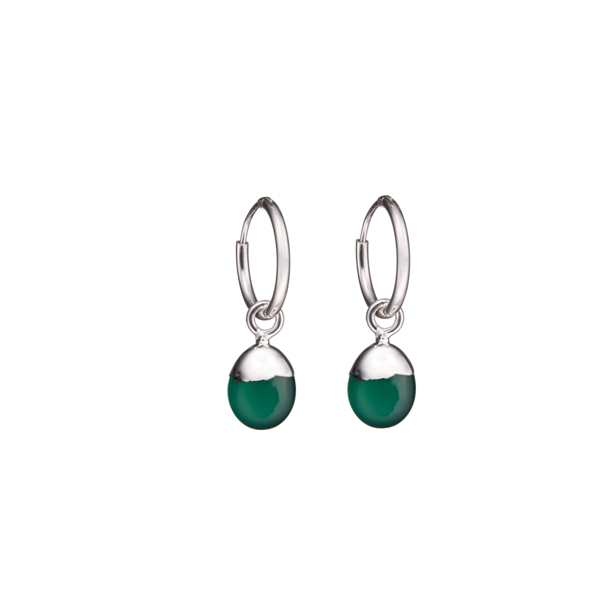 Tiny Tumbled Gemstone Hoop Earrings - Sterling Silver - Green Agate (Protection) - Decadorn
