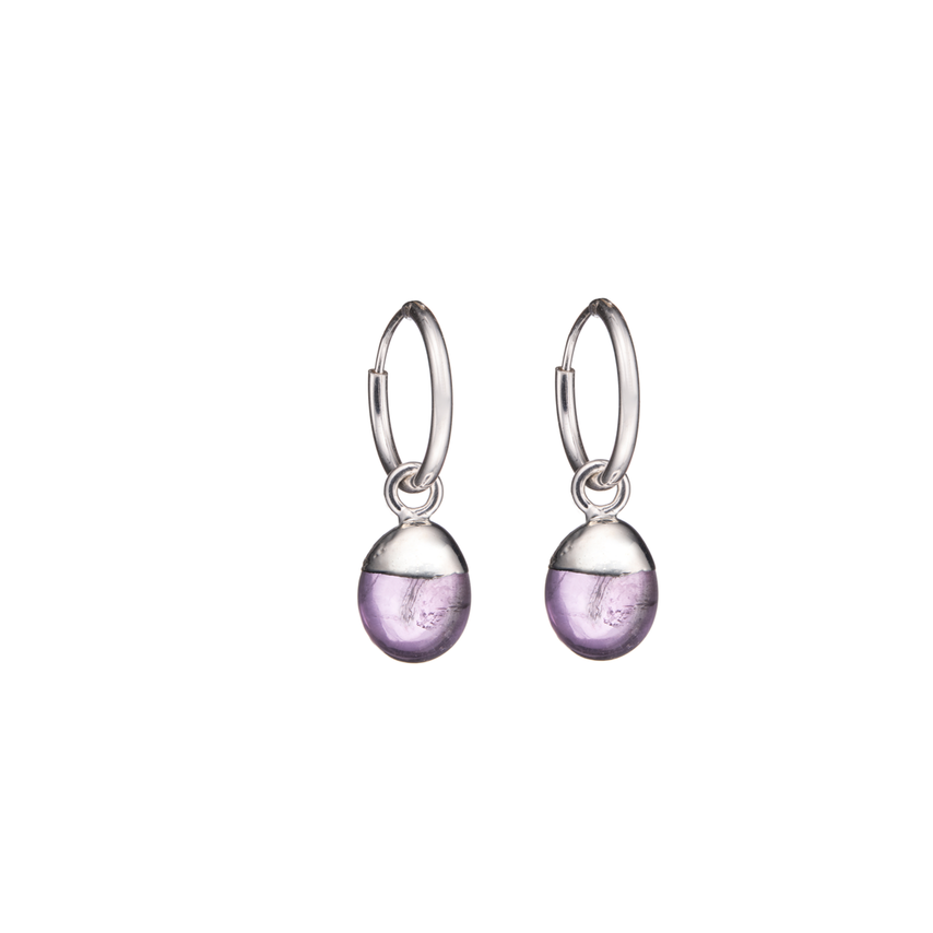 Tiny Tumbled Gemstone Hoop Earrings - Silver - Amethyst (Calming) - Decadorn