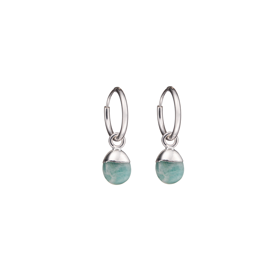 Tiny Tumbled Gemstone Hoop Earrings - Silver - Amazonite (Confidence) - Decadorn