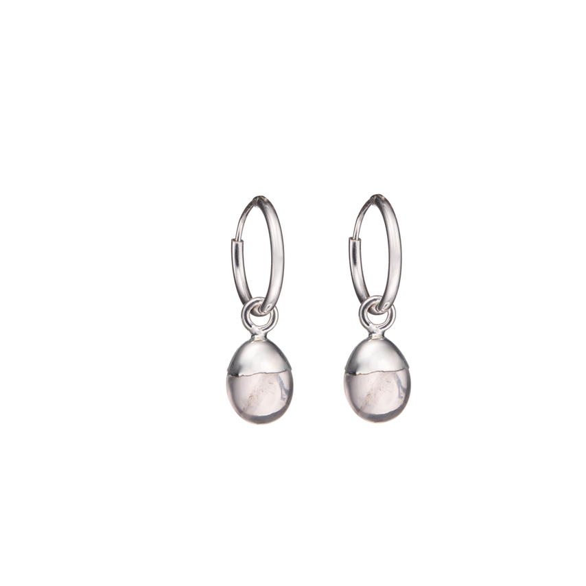 Tiny Tumbled Gemstone Hoop Earrings - Silver - Rose Quartz (Love) - Decadorn