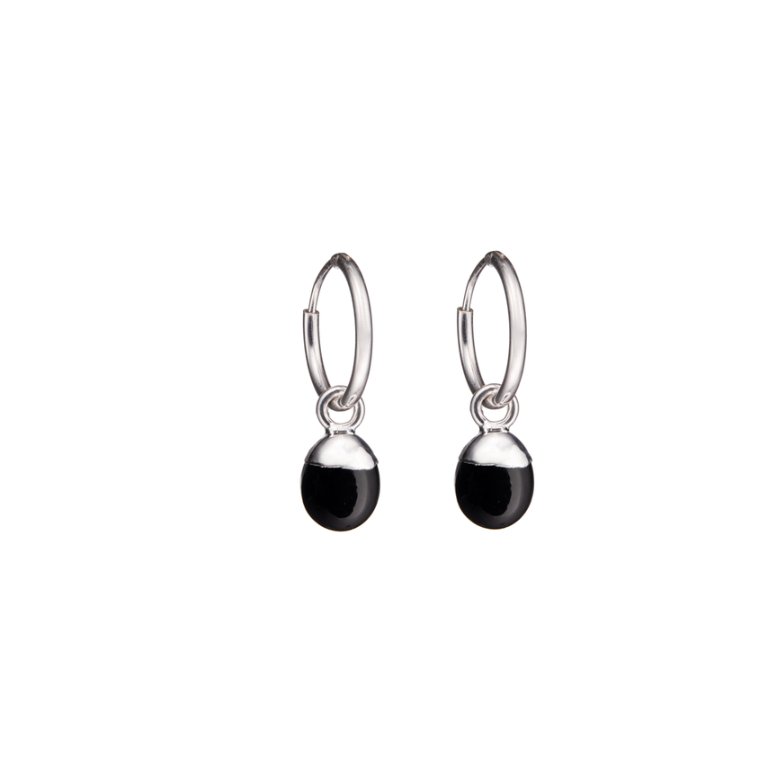 Tiny Tumbled Gemstone Hoop Earrings - Sterling Silver - Onyx (Strength) - Decadorn