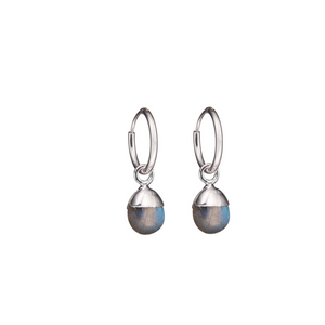 Tiny Tumbled Gemstone Hoop Earrings - Sterling Silver - Labradorite (Adventure) - Decadorn