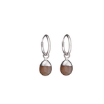 Tiny Tumbled Gemstone Hoop Earrings - Sterling Silver - Chocolate Moonstone (New Beginnings) - Decadorn