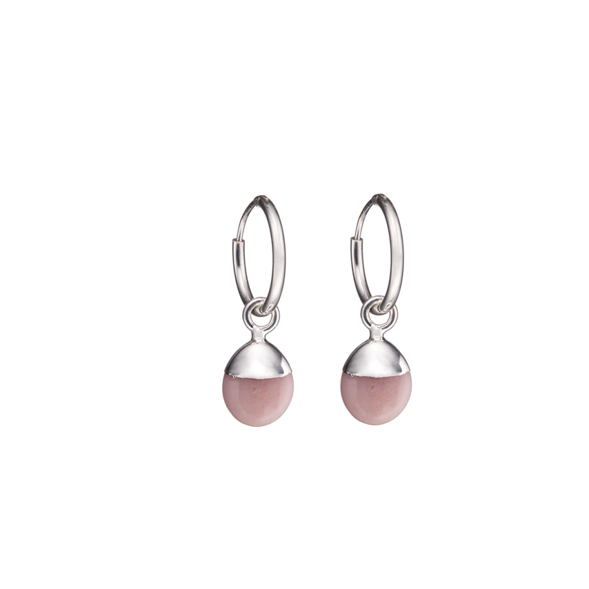 Tiny Tumbled Gemstone Hoop Earrings - Sterling Silver - OCTOBER, Pink Opal (Hope) - Decadorn
