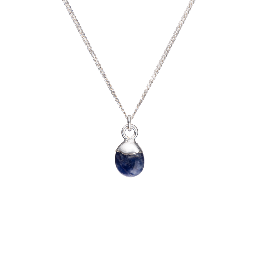 Tiny Tumbled Gemstone Necklace - Silver - Sodalite (Inspiration) - Decadorn