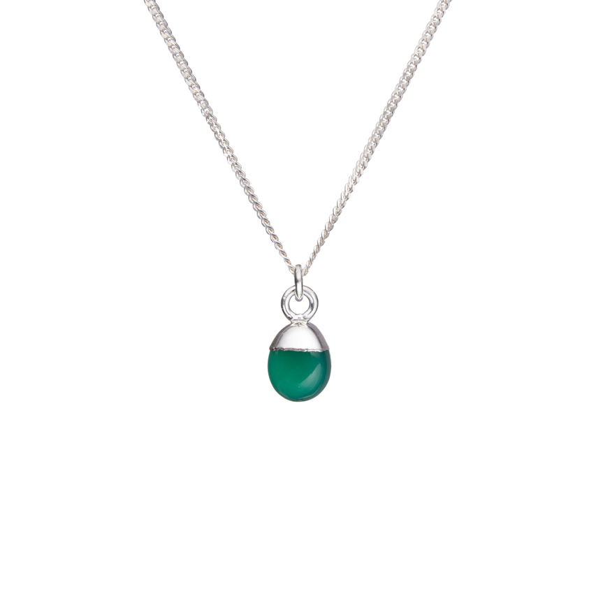 Tiny Tumbled Gemstone Necklace - Silver - Green Agate (Protection) - Decadorn