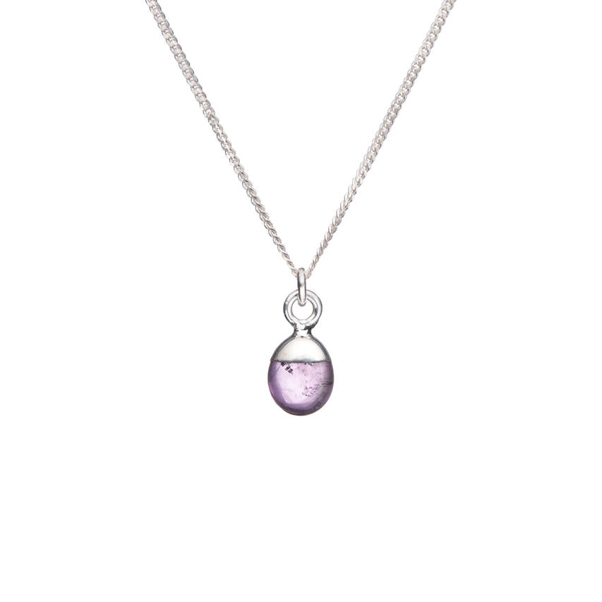 Tiny Tumbled Gemstone Necklace - Sterling Silver - Amethyst (Calming)