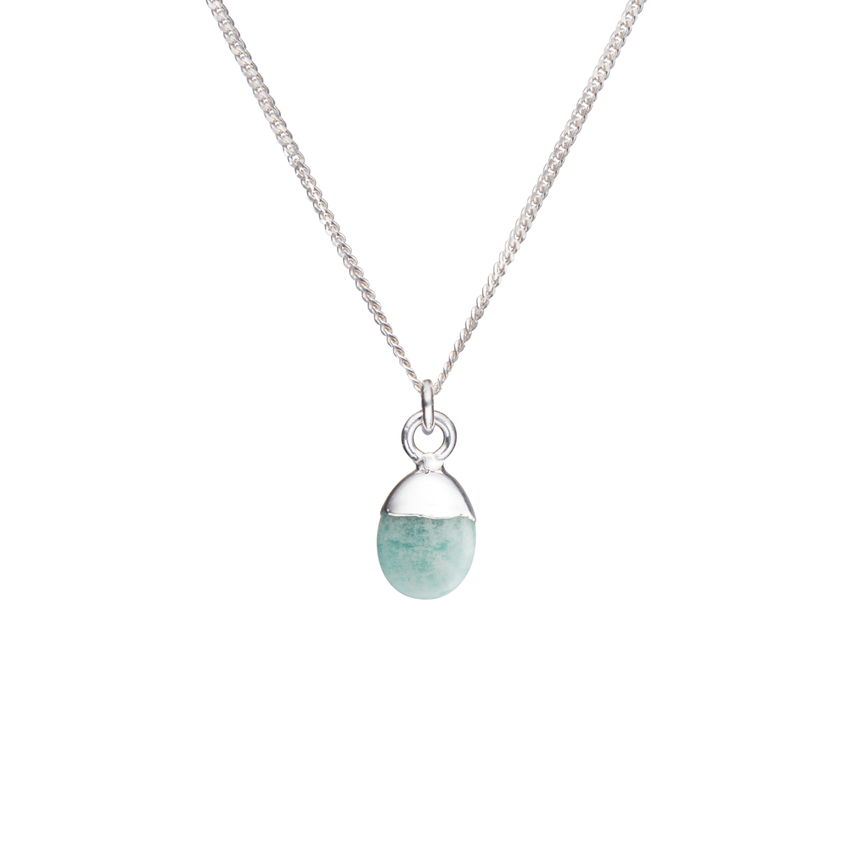 Tiny Tumbled Gemstone Necklace - Silver - Amazonite (Confidence) - Decadorn