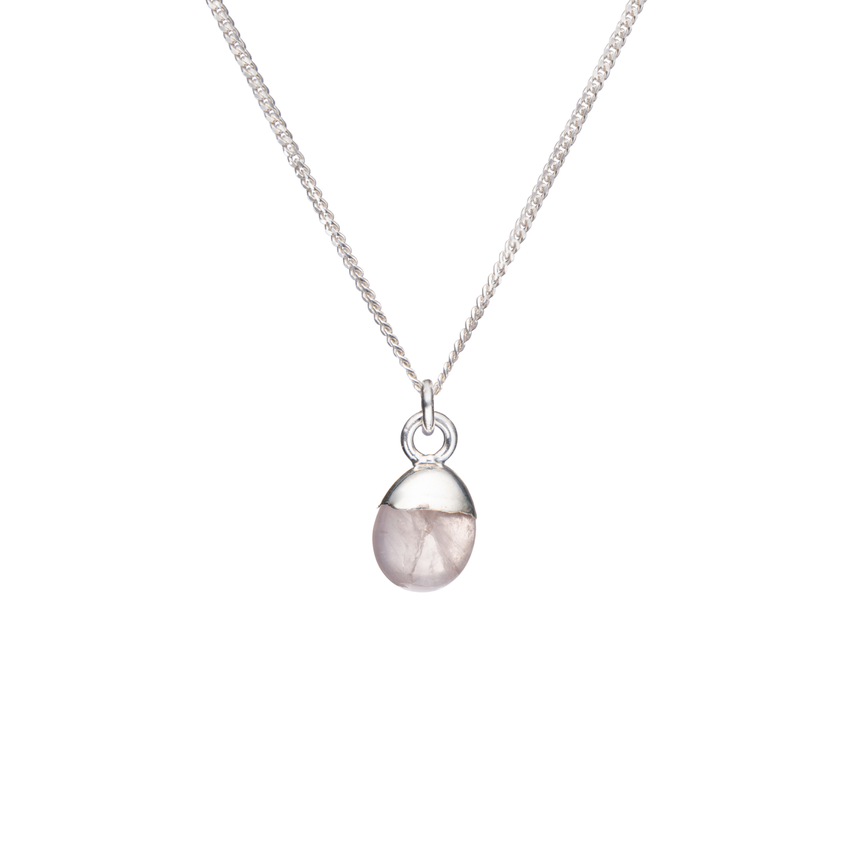 Tiny Tumbled Gemstone Necklace - Sterling Silver - Rose Quartz (Love) - Decadorn