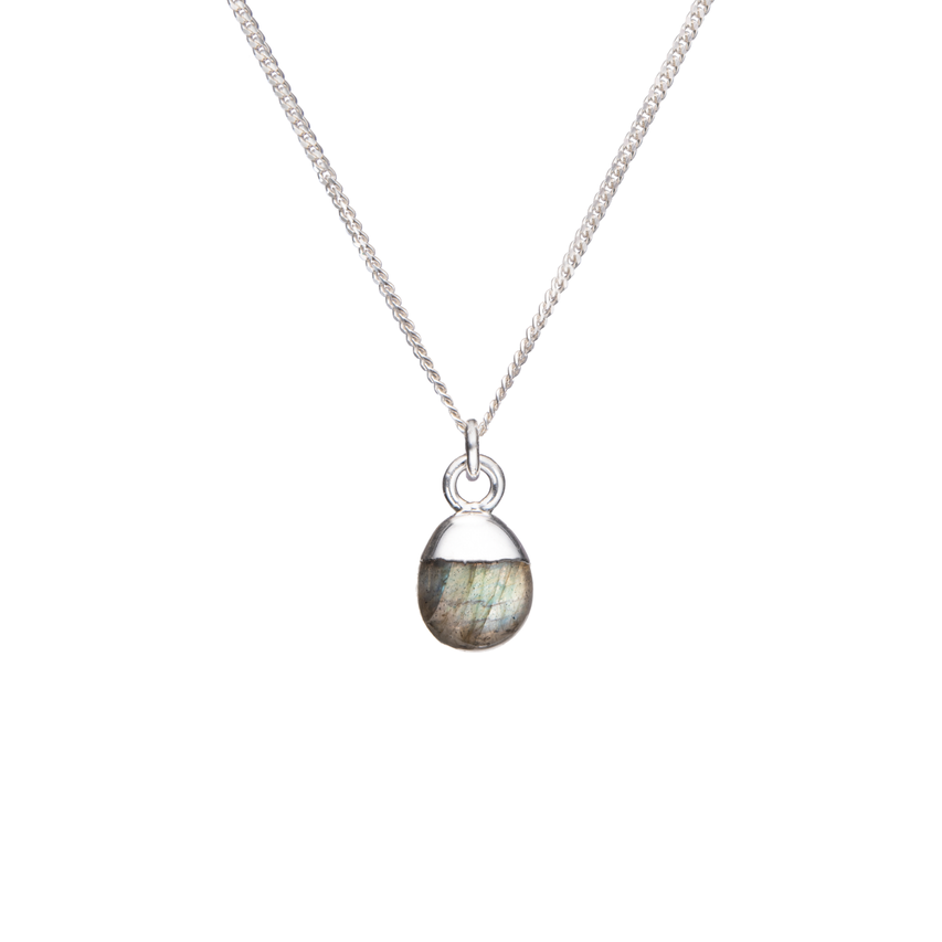 Tiny Tumbled Gemstone Necklace - Sterling Silver - Labradorite (Adventure) - Decadorn