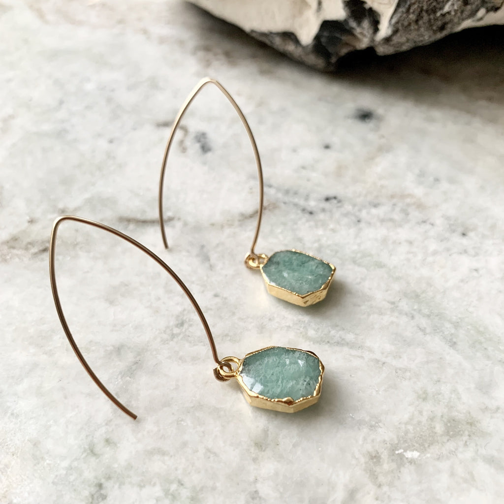 Gem Slice Dropper Earrings - Amazonite